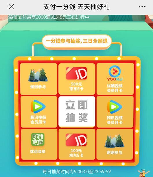 微信钱包绑定邮政借记卡支付一分钱抽奖腾讯视频周卡京东E卡